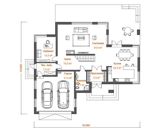 план дома 284 м2  1этаж