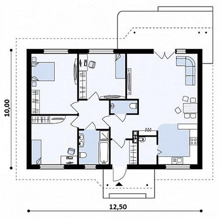 План проекта дома 125 м2 без размеров