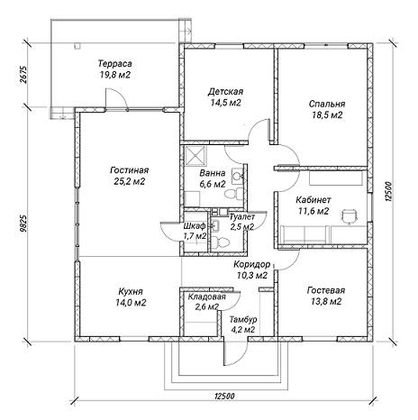 план дома 94 м2 1 эт Седча
