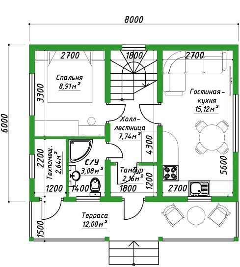 проект дома 96 план 1